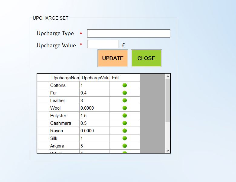 upcharges for dry cleaning items  in i2htech Dry cleaning software