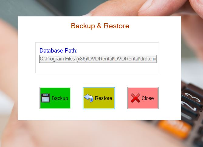 RENTAL SOFTWARE DATABASE BACK UP